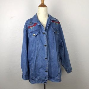 Jackets & Blazers - Vintage oversized Tribal print denim jacket    G10